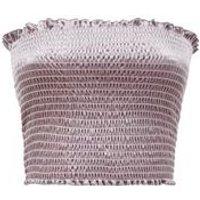 Grey Velvet Shirred Bandeau Top New Look