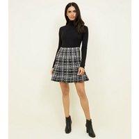 Apricot Black Plaid Flare Knit Skirt New Look