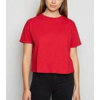 Dark Red Organic Cotton Boxy T-Shirt New Look