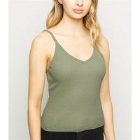 olive-ribbed-v-neck-cami-new-look