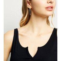 Black Ribbed Notch Neck Vest New Look