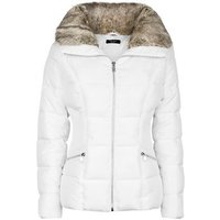 Petite White Faux Fur Trim Fitted Puffer Jacket New Look