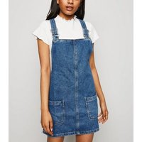 Petite Blue Buckle Denim Pinafore Dress New Look