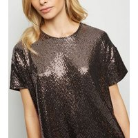 rose gold sequin t-shirt new look