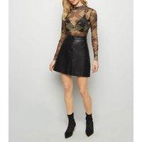 Black Chain Leopard Print Mesh Bodysuit New Look