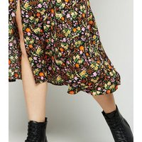 Black Ditsy Floral Midi Skirt New Look