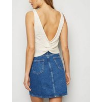 Tall Blue Washed Button Front Denim Skirt New Look