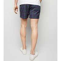 Navy Tartan Check Shorts New Look