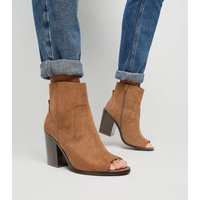 Tan Suedette Peep Toe Western Ankle Boots New Look