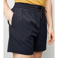 Navy Seersucker Pull-On Shorts New Look