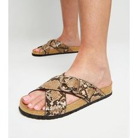 Stone Faux Snake Cross Strap Footbed Sliders New Look
