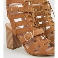 Tan Suedette Lace Up Gillie Block Heels New Look