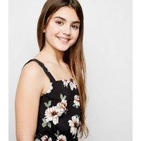 Girls Black Floral Square Neck Jumpsuit New Look