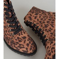 Stone Leopard Print Suedette Hiker Boots New Look
