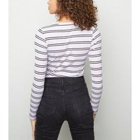 Lilac Stripe Ribbed Long Sleeve Top New Look