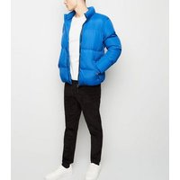 Bright Blue Funnel Neck Puffer Jacket New Look
