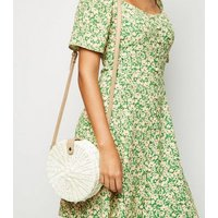 Cream Straw Effect Woven Round Bag New Look
