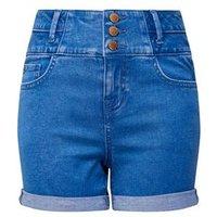 Girls Blue High Waist Denim Shorts New Look