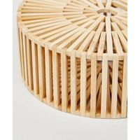 Stone Slatted Bamboo Round Shoulder Bag New Look