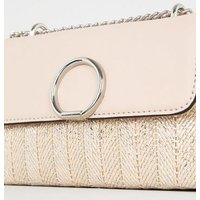 Rose Gold Metallic Woven Stripe Shoulder Bag New Look