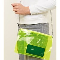 Yellow Neon Clear Cross Body Bag New Look