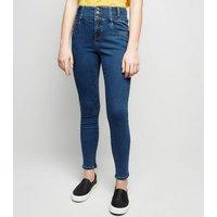 Girls Blue High Waist Skinny Jeans New Look