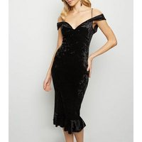 AX Paris Black Velvet Cold Shoulder Midi Dress New Look