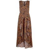 AX Paris Brown Tiger Print Dip Hem Midi Dress New Look