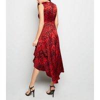 AX Paris Red Tiger Print Dip Hem Midi Dress New Look