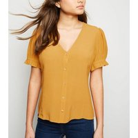 Mustard Button Front Puff Sleeve Top New Look