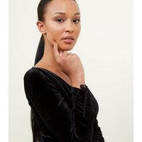 Brave Soul Black Velvet Wrap Front Playsuit New Look
