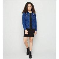 Girls Bright Blue Ripped Oversized Denim Jacket New Look