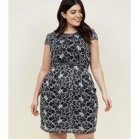 Blue Vanilla Curves Black Lace Mini Dress New Look