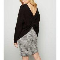 Maternity Black Check Tube Skirt New Look