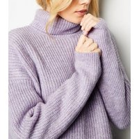 Lilac Roll Neck Boxy Jumper New Look