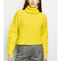 Yellow Neon Roll Neck Boxy Jumper New Look