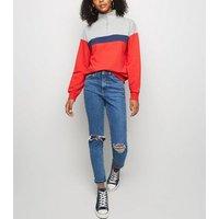 Red Colour Block Half Zip Sweatshirt New Look