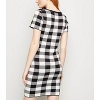 Apricot Black Gingham Knitted Bodycon Dress New Look