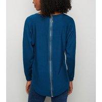 apricot-teal-rib-trim-zip-back-jumper-new-look