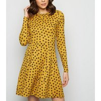 Mustard Ditsy Floral Soft Touch Skater Dress New Look