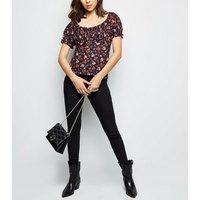 Black Floral Print Milkmaid Top New Look