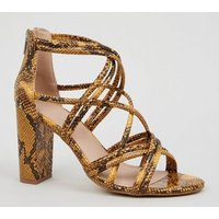 Yellow Faux Snake Block Heel Sandals New Look