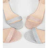 Rose Gold Glitter Ankle Strap Sandals New Look