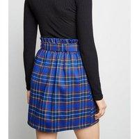 Blue Check High Waist Mini Skirt New Look