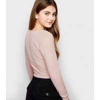 Girls Pink Lattice Front Square Neck Top New Look