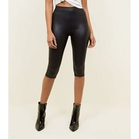 Black Leather-Look 3/4 Cycling Shorts New Look