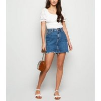 Blue Fray Hem Denim Mom Skirt New Look