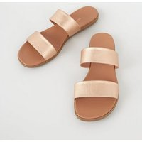 Rose Gold 2 Strap Footbed Sliders New Look