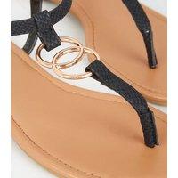 Black Faux Snake Ring Strap Flat Sandals New Look Vegan