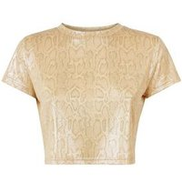 Cameo Rose Gold Snake Print Crop Top New Look